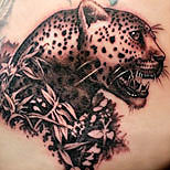 Leopard head tattoo