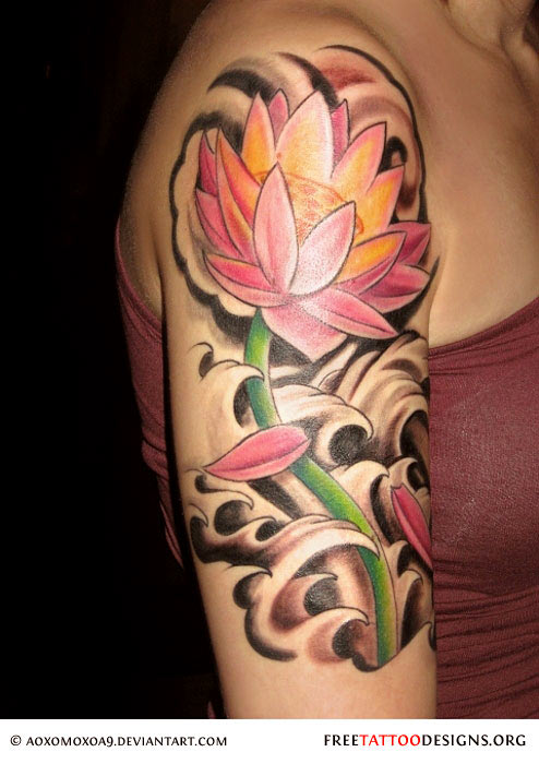 90 lotus flower tattoos for Flower tattoo arm