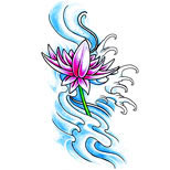 Lotus flower and water tattoo design
