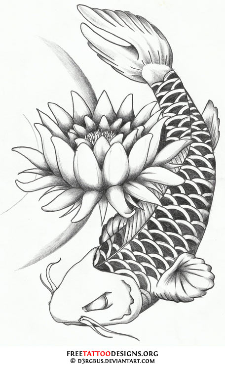 40 koi fish tattoos japanese and chinese designs for Black and white coy fish