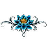 Lower back lotus tattoo design