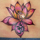Lotus, rabbit and ohm tattoo