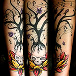 Lotus skull tree tattoo