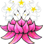 Lotus and stars tattoo design