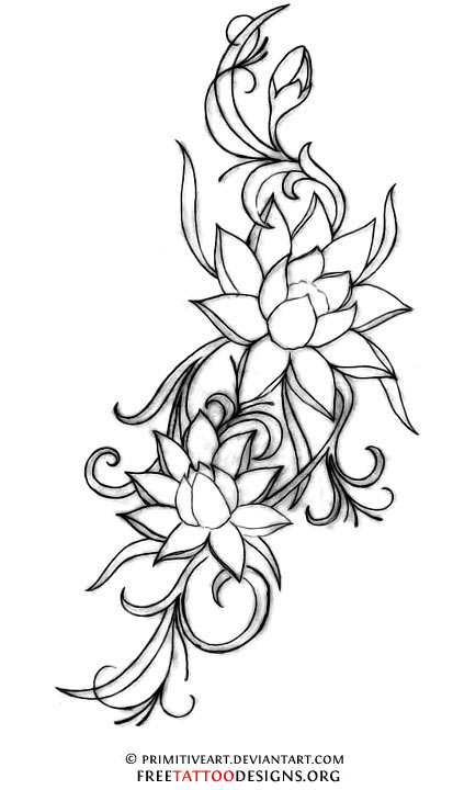 Line Drawing Of Lotus Flower : Chinese flower tattoos gallery tribal forearm