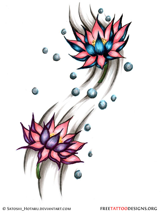 90 lotus flower tattoos for Water tattoo designs