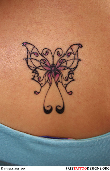 Butterfly tattoo gallery for Lower back tattoo designs