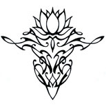 Lower Back Lotus Tattoo (black tribal)