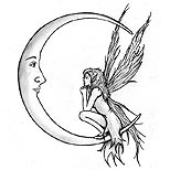 Moon and fairy tattoo design