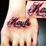 Name tattoo on foot