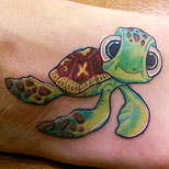 Foot tattoo of the cute turtle from the Nemo movie