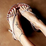 Nicole Richie's ankle tattoo: rosary and cross