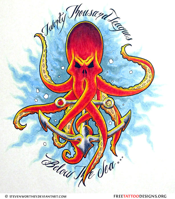 Anchor Octopus Drawing Octopus And Anchor Tattoo