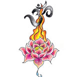 Ohm and lotus tattoo design