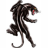 Old school black panther tattoo design