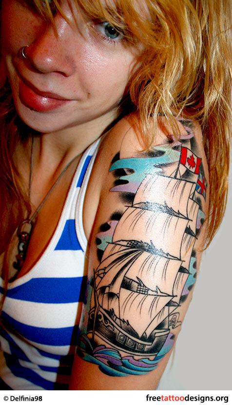 Traditional old school tattoos gypsy anchor ship pin up and old school boat tattoo on a girls arm maxwellsz