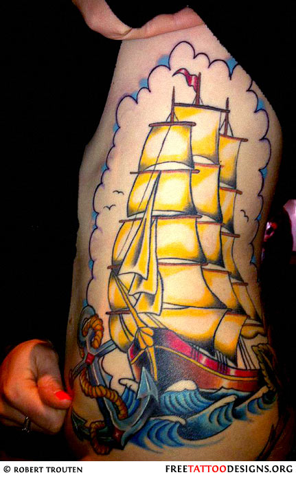 old school ship tattoo on a girl 39 s side. Black Bedroom Furniture Sets. Home Design Ideas