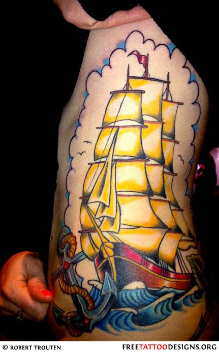 old school ship tattoo on a girl 39 s side. Black Bedroom Furniture Sets. Home Design Ideas