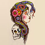 Old school tattoo design: woman with snake, skull and flowers