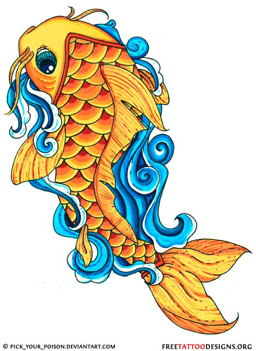 New school koi fish drawing for Orange coy fish