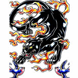 Panther and flames tattoo design