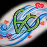 Peace heart tattoo