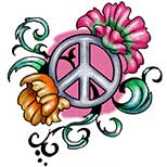 A peace sign tattoo combined with flowers