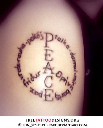 50 peace sign tattoos for Word tattoo ideas