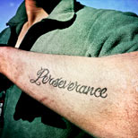 Perseverance tattoo on a soldier's arm