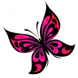 Pink butterfly tattoo design