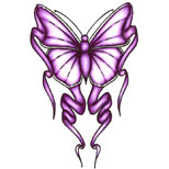 Purple butterfly tattoo design