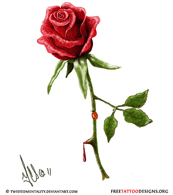 Realistic Rose Tattoo Design