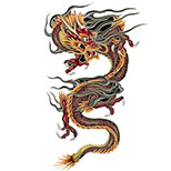 Chinese dragon tattoo flash (black, red & yellow)