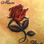Red rose tattoo with the words Mum and Dad