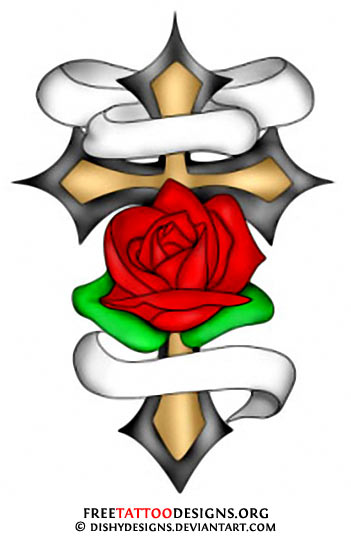 Cross with Rose Tattoo