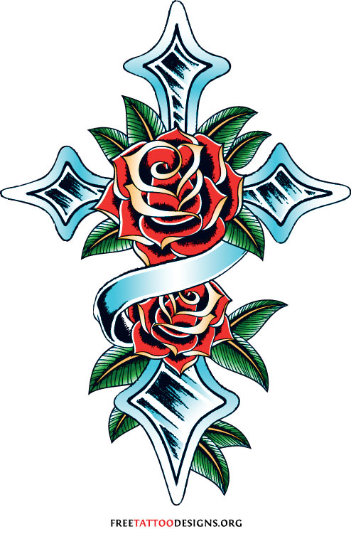 Cross tattoo with roses Drawings Of Crosses And Roses