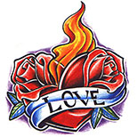 Rose heart tattoo with flames and love banner