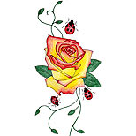 Rose with vine and ladybugs tattoo