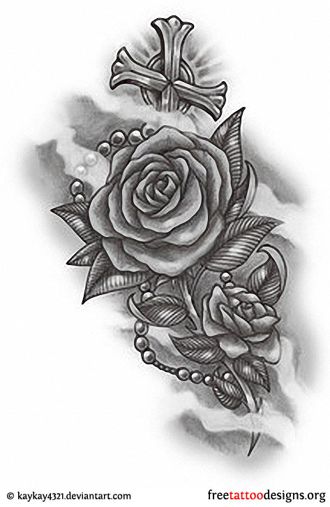 Rose with Rosary Beads Tattoo
