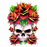 Skull and roses design