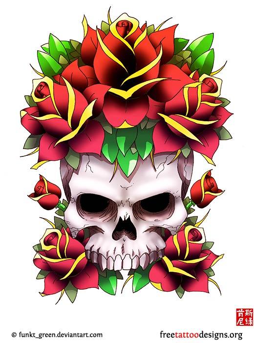 Virgin Mary Design Skull And Roses