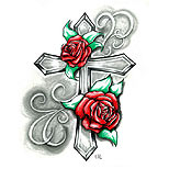 Cross and roses tattoo