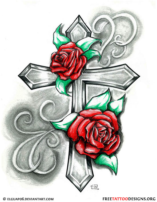 Cross with Rose Tattoo Drawing
