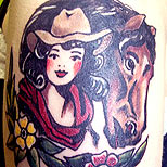 Sailor Jerry horse and cowgirl tattoo