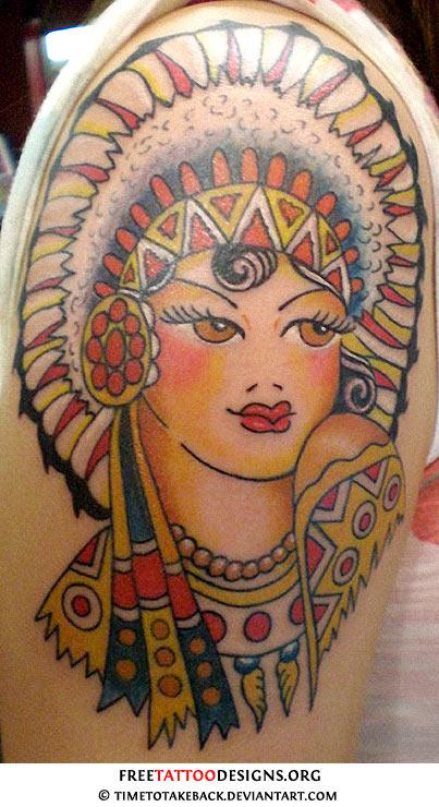 Sailor Jerry Native Indian Girl Tattoo