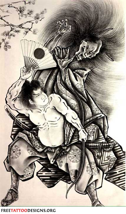 Tattoo: samurai with fan fighting against a demon