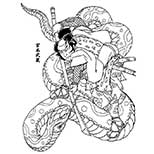 Tattoo design of samurai fighting a giant snake