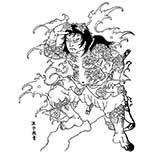 Tattoo design of samurai standing in a wave