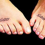 Sister tattoos on feet