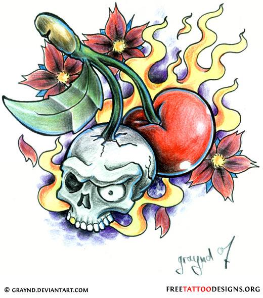 Cherry Skull Tattoo Flash